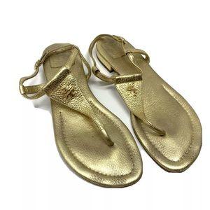 Tory Burch Britton Flat Thong Sandals - Gold